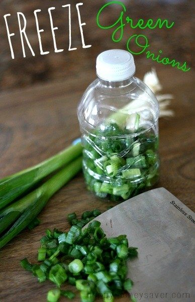 If after cooking you have way too many extra green onions, chop them up and freeze them in an empty water bottle (plastic OR glass).   23 Clever Food Storage Tips That Will Save You So Much Money