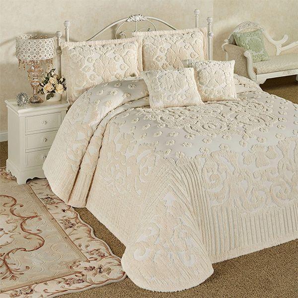 Laurent Ecru Cotton Chenille Oversized Bedspread Set In 2020