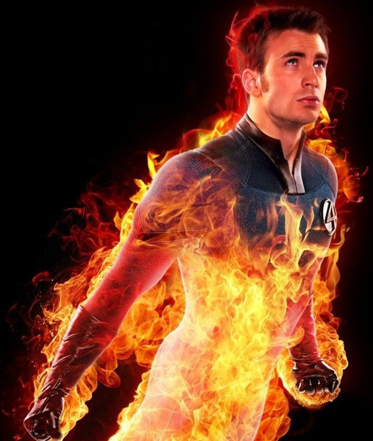 "CHRIS EVANS as The Human Torch (2005 & 2007) - The Human Torch is a fictional superhero that appears in comic books published by Marvel Comics. He is a founding member of the Fantastic Four. Johnny Storm gained his powers on a spacecraft bombarded by cosmic rays. He can engulf his entire body in flames, is able to fly, can absorb fire harmlessly into his own body, & can control any nearby fire by sheer force of will. ""Flame on!""  has become his catchphrase."