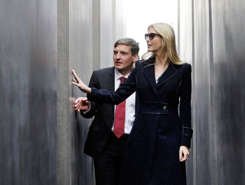 Ivanka Trump visits Berlins Holocaust memorial and more:...  Ivanka Trump visits Berlins Holocaust memorial and more: April 25 in photos  Ivanka Trump daughter and adviser of U.S. President Donald Trump touches a slab when visiting the Memorial to the Murdered Jews of Europe after she participated in the W20 Summit in Berlin; A car is submerged in floodwater along Glenwood Avenue in Raleigh N.C; A young boy looks on as war veterans make their way down Elizabeth Street during the ANZAC Day…