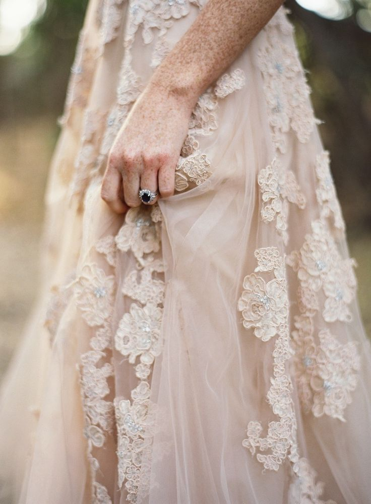Ivory lace embroidered chiffon wedding dress: http://www.stylemepretty.com/2016/02/17/romantic-wedding-dresses/