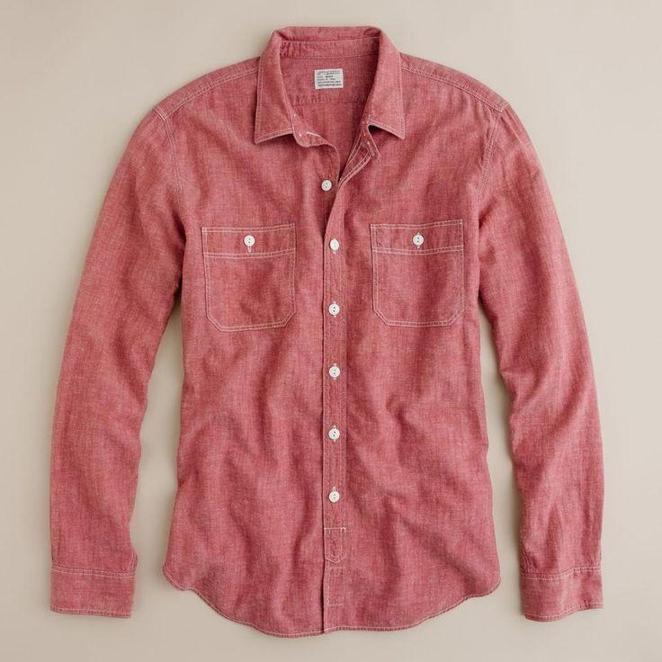 J.Crew Slim red selvedge chambray utility shirt