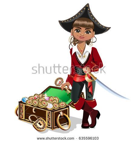 Girl pirate with treasure chest. vector illustration
