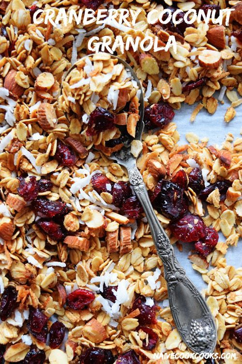 Crunchy granola with holiday flavors - sweetened cranberries, coconut flakes, almond and oats! Simple to make and way better than store bought.