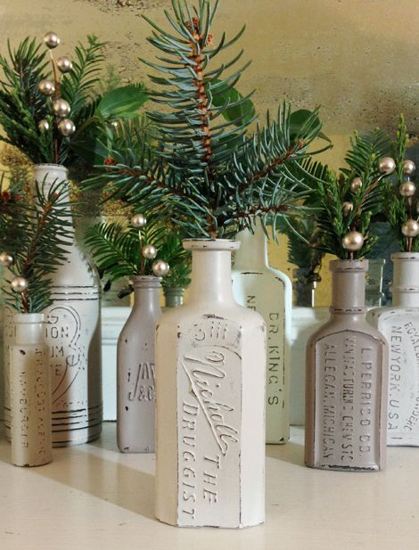 Painted and distressed vintage embossed apothecary bottles- Simple but fabulous accents for the holidays or anytime of year!