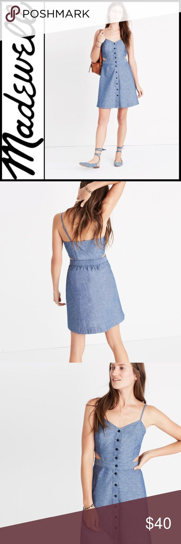 """[Madewell] Chambray Cutout Mini Dress Size 10 This New with tags pretty cami dress with side cut outs and buttons all the way down the front. Made of leightweight chambray , this mini dress is perfect for your warm weather party lineup. Falls 26 1/8"""" from high point of shoulder   100% cotton  Machine wash  Measurments  Bust 17""""  Length 26""""  Width from hem 25"""" Madewell Dresses Mini"""