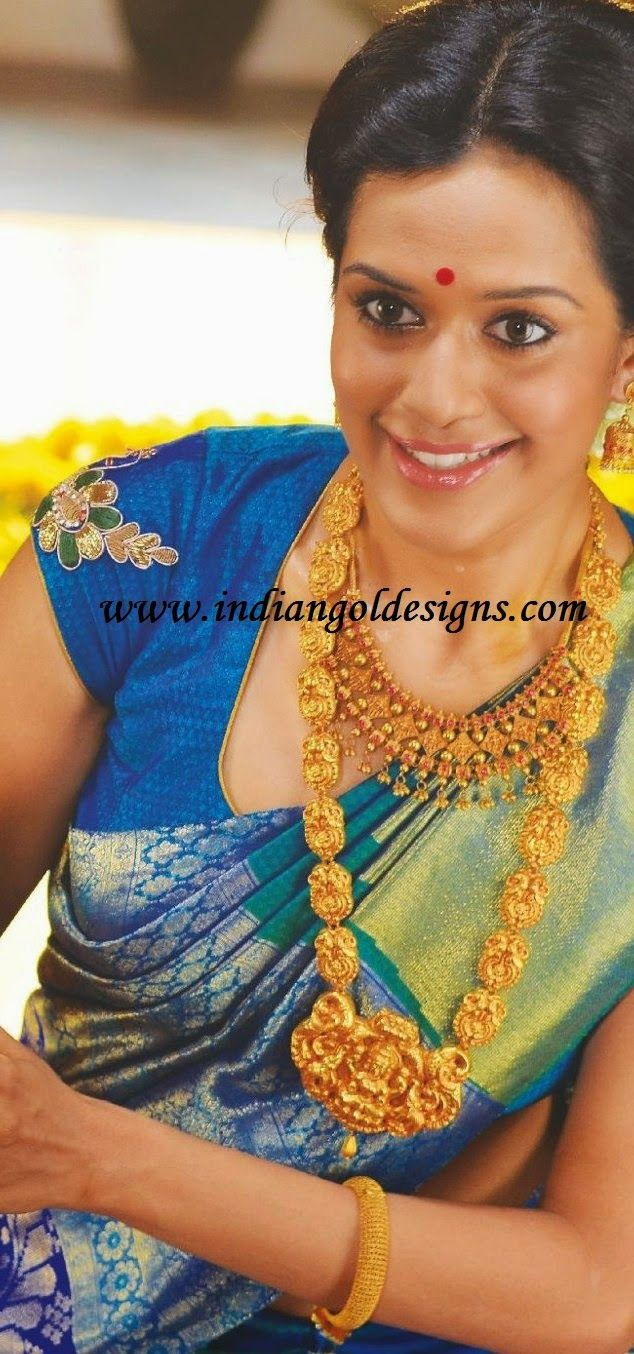 Gold and Diamond jewellery designs: temple jewellery