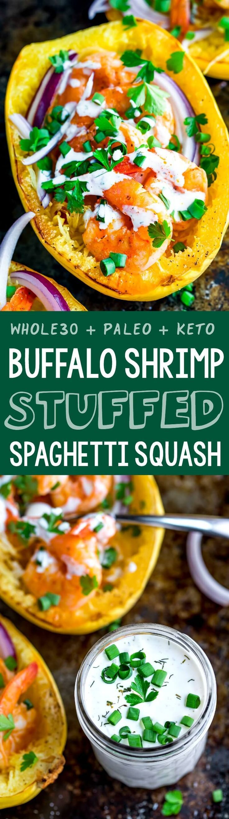 This crazy delicious Buffalo Shrimp Spaghetti Squash with Paleo Ranch Dressing is Whole30 compliant and gloriously gluten-free. Love it so!