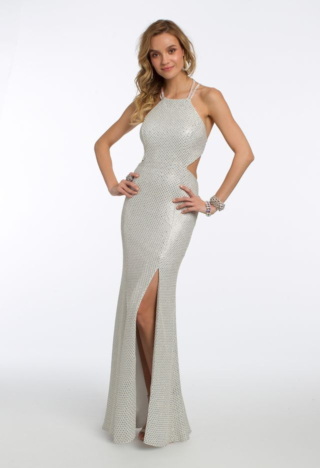 daee7e7e5787 From the halter neckline, criss cross back and fitted bodice with side  cutouts to the column skirt with a sexy side slit, this halter prom dress  ...