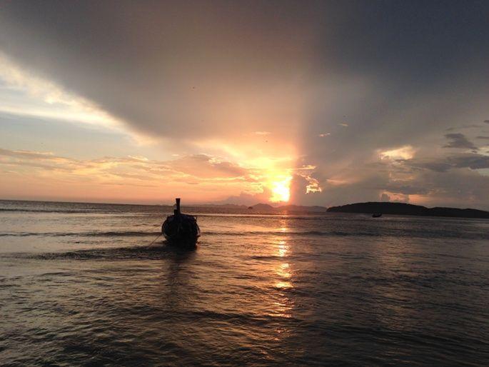 Sunset at Ao Nang Beach, Thailand  http://solotravelerblog.com/solo-travel-destination-ao-nang-beach-thailand/