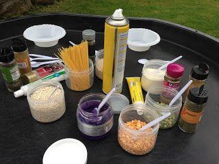 Potion Making! | Pre-school Play popcorn, salt, spices, glitter, rice, beans, toothpaste, mouthwash, cornstarch, oats, etc.