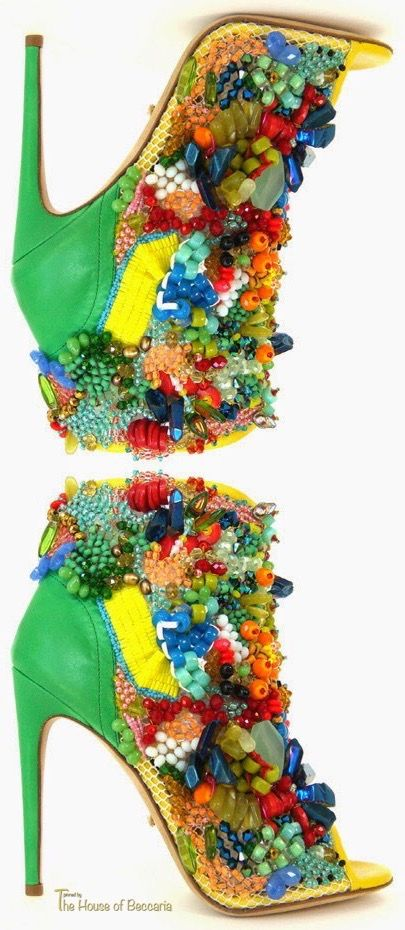 ~Jerome C. Rousseau's Carmen Miranda inspired JUDA bootie. Over 7000 beads including coral, freshwater pearls and vintage Czech crystal are meticulously hand-applied by Los Angeles artist Emily J. Snyder. Limited Edition - Custom order takes 75 days to make. $6,495.00 | The House of Beccaria
