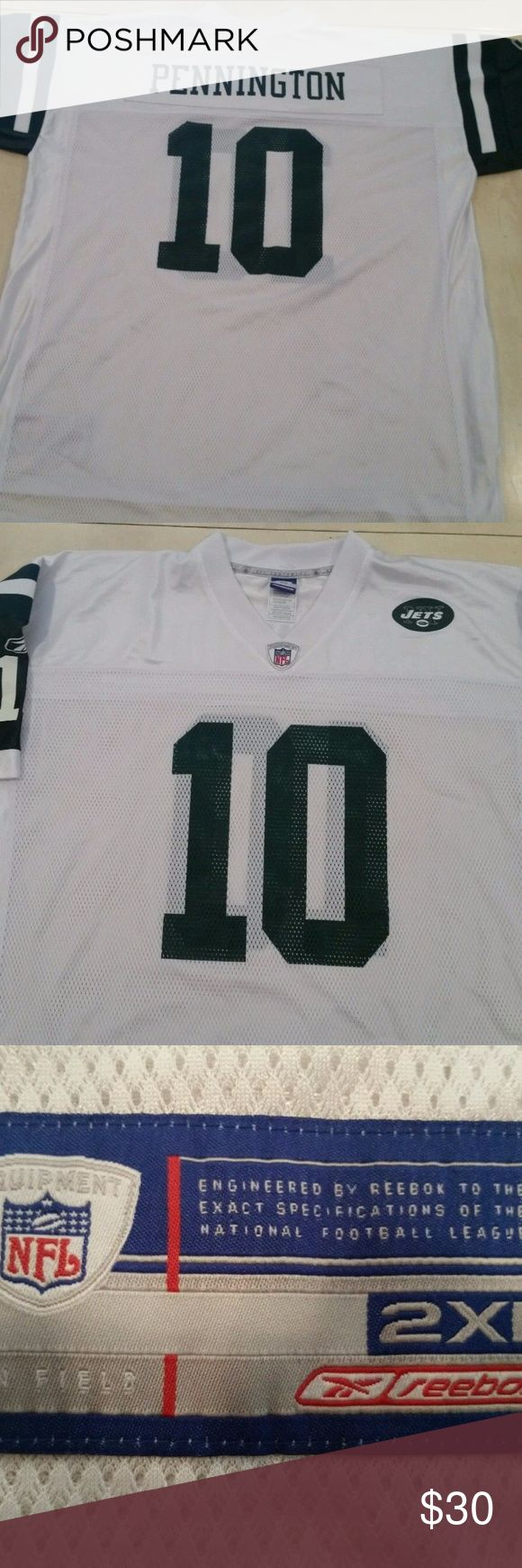 New York Jets CHAD PENNINGTON #10 Road Jersey XXL USED REEBOK  CHAD PENNINGTON #10  NEW YORK JETS Throwback Jersey   SIZE ADULT XXL  JERSEY IS IN   GOOD OVERALL CONDITION  ***BUT HAS A FEW FLAWS***  PLEASE LOOK AT SCANS Reebok Shirts Tees - Short Sleeve