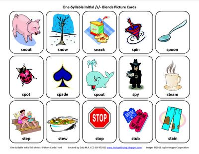 Testy yet trying: S-Blends (/sl/, /sm/, /sn/, /sp/, /st/): Free Speech Therapy Articulation Picture Cards