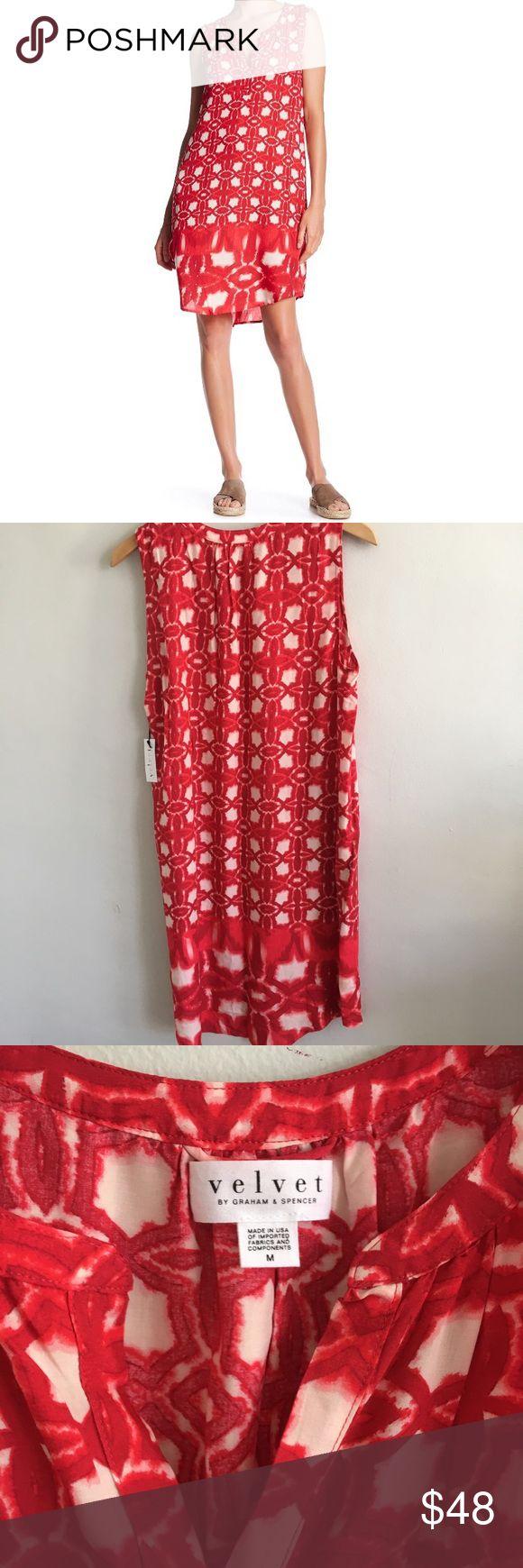 "Velvet by Graham & Spencer Red Bonita Shift Dress Velvet by Graham & Spencer Bonita Dress Sz M Red White Floral Shift Resort. Brand new with tags. 100% viscose. Chest: 40"". Length: 39"". Velvet by Graham & Spencer Dresses Mini"