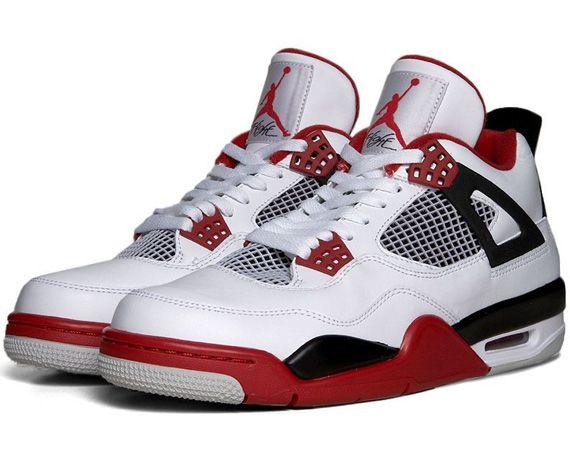 308497-603 Air Jordan Retro 4 Toro Bravo Fire Red White-Black-Cement Grey $109.00 http://www.bredshoes.com/ | Jordan Green Glow 4s,Fire Red | Pinterest ...
