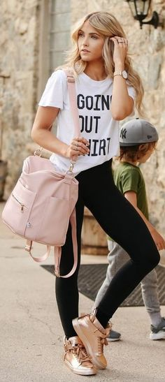 #summer #trending #outfits | Black And White Sporty + Pink + Rose Gold Sneakers