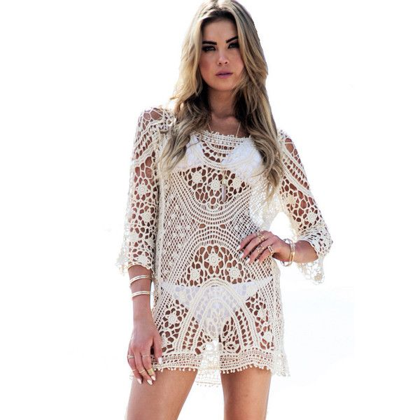 Crochet Cover Up Swimsuit knit Beach dress ($19) ❤ liked on Polyvore featuring swimwear, cover-ups, swimsuit cover ups, swim suits, crochet cover up, swimsuit cover up and crochet bathing suit cover ups