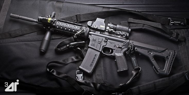 AR15 with Magpul EMAG and EOTech Sights. Brugger & Thomet Vertical Grip & Streamlight TLR-2