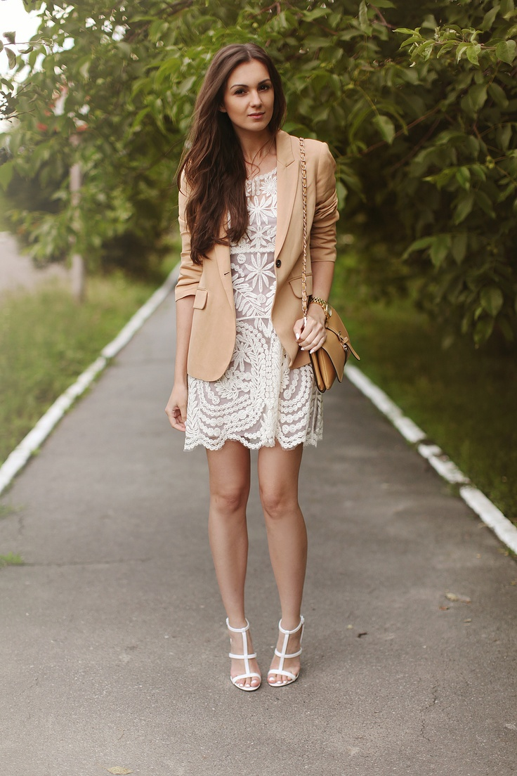 Nude Heels With White Dress
