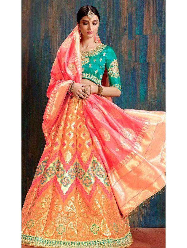 afb84e6c4 Orange Color Traditional Wear Designer lehenga choli online