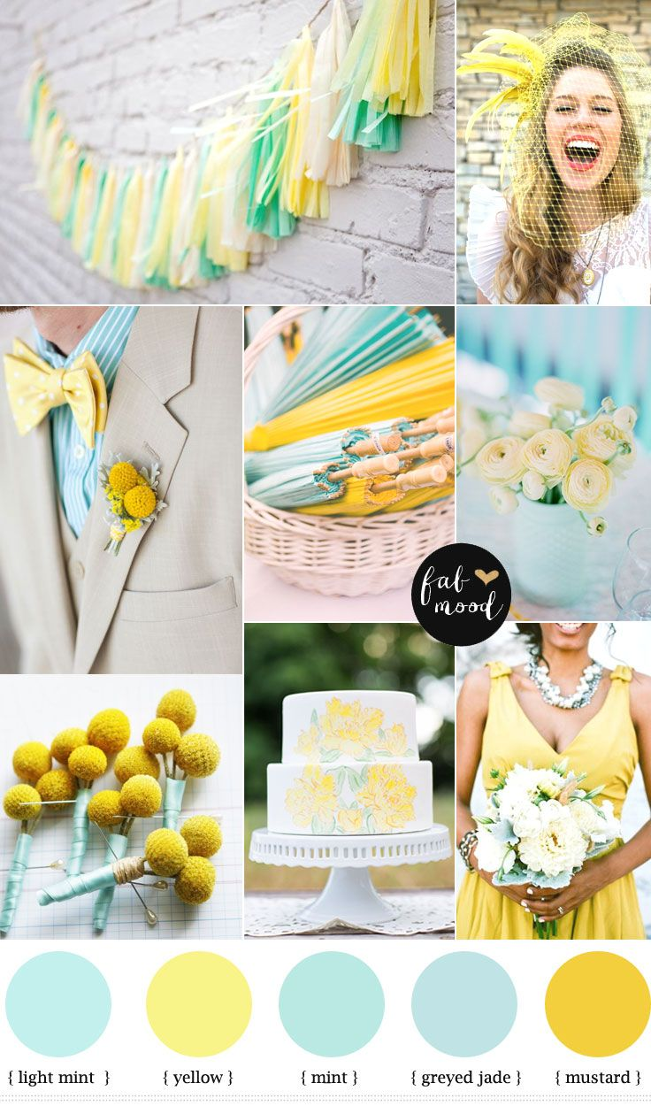 Mint and yellow wedding | http://fabmood.com/mint-and-yellow-wedding-colours/