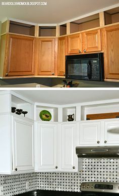 Kitchen before and after utilizing the space above cabinets and painting them.
