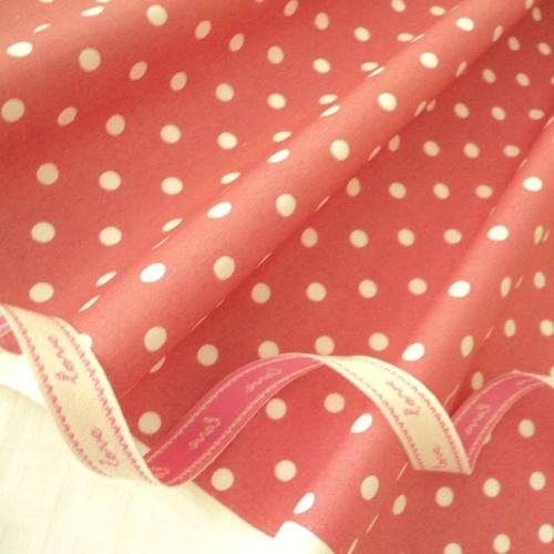 FQ - DEEP DUSTY PINK - MOD POLKA DOT 100% COTTON FABRIC PATCHWORK QUILTING | eBay