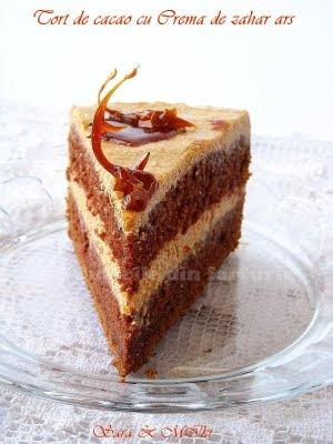 Culorile din farfurie: Tort de cacao cu Crema de zahar ars