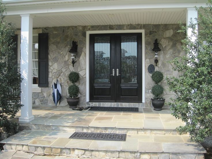Doors: Wood Open Double Front Entry Doors Exterior With Single Bronze Door Knob And Granite Wall Exterior Design from Great Home on the Double Front Entry Doors