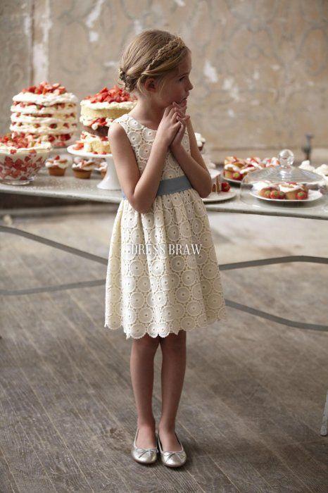 Amazing Knee-length Sheath Scoop Lace Flower Girl Dresses