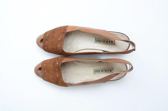 #Vintage brown leather flatform #sandals by #ZvezdanaVintage, $28.00