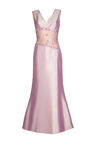 Rochie lunga de ocazie din tafta roz cu perlute model 082