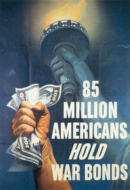 WWII War Bond Poster.  At the time of the Second World War the population of the United States was 132 million.