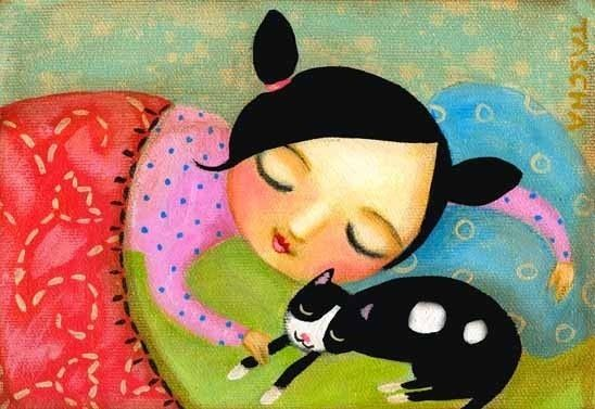 Sleepy Time Tuxedo Cat PRINT from original painting by by tascha