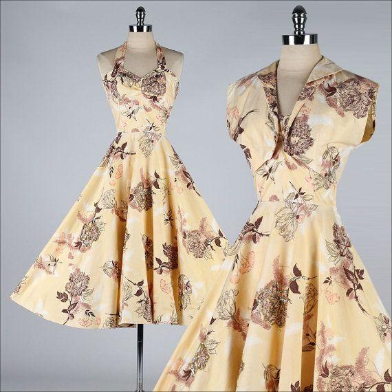 vintage 1950s dress . peach floral sequins by millstreetvintage, $215.00