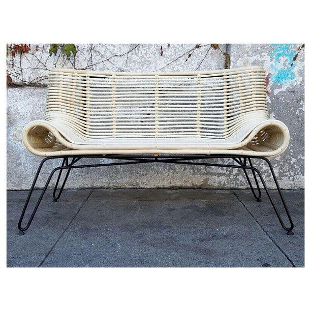 "New arrival!🔥 #indoor #outdoor #loveseat #bench with #caning #chic #outdoorseating #bohochic #midcentury #modern #decor $495 50"" wide x 26"" deep x 30"" height buy online and pick up tomorrow www.sunbeamvintage.com"