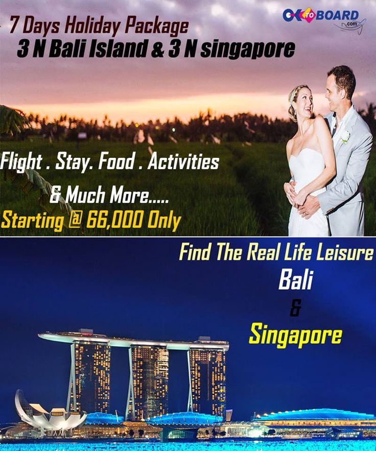#Bali & Singapore Holidays  Bali & #Singapore is a perfect blend of romantic destinations where you can relax at crystal clear beaches of Bali & have fun in Singapore. Get amazing deals for Singapore & Bali holiday packages, click http://www.oktoboard.com/international-holidays/singapore-bali-holiday-packages.html and get intresting discounts..or Dial 0141-5120040