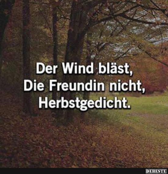 Der Wind bläst, Die Freundin nicht, Herbstgedicht. | Lustige Bilder, Sprüche, Witze, echt lustig