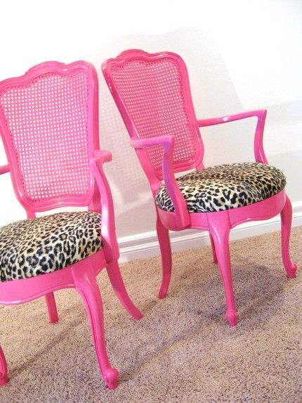 Turn old chairs into new ones by painting them and reupholstering them.