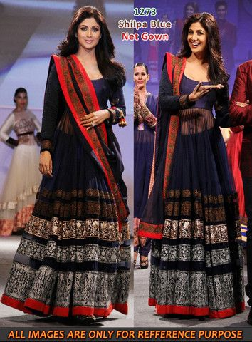 Shilpa Shetty in navy blue floor length anarkali suit – Panache Haute Couture