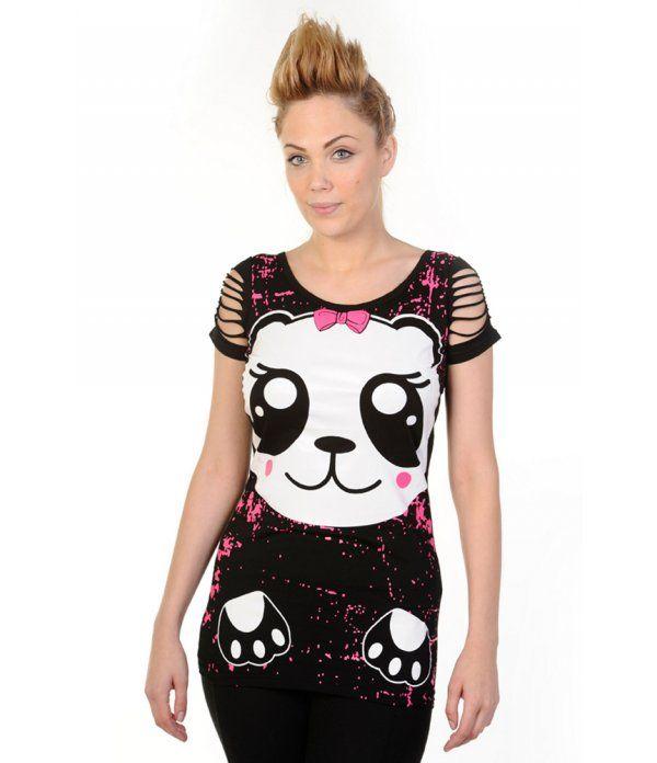 www.freakypink.com Top Kawaii Panda 24,99€ Top kawaii panda long avec manches déchirées.
