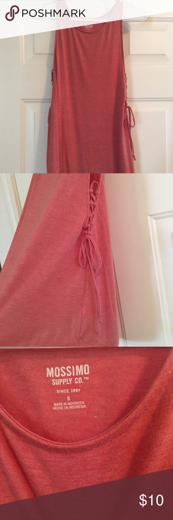 Mossimo Target Juniors Tank Top Mossimo Juniors coral/peach tank top with lace up details on either side, size small. Only worn once. Smoke free home. Mossimo Supply Co Tops Tank Tops