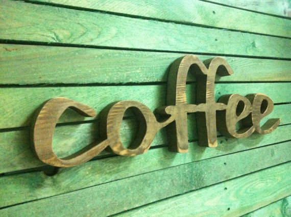 Wood sign home decor wood word coffee wooden sign by svetulka, $49.00