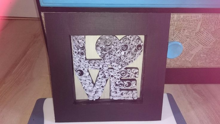 Love sign, cardboard, frame, quill, quilling, paper art