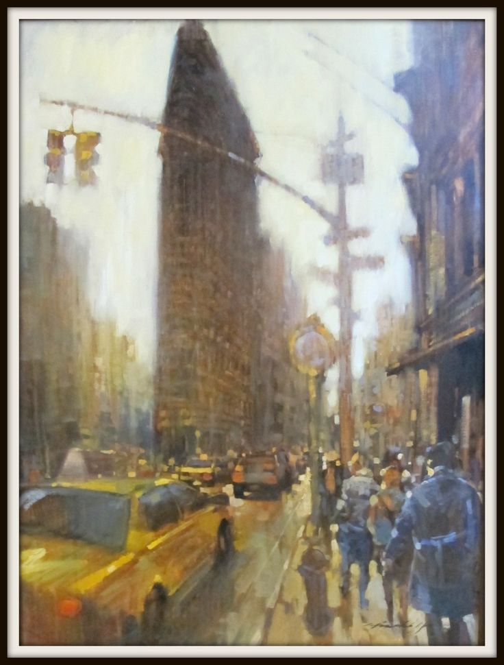 "David Hinchliffe - Works - New York  ""Flat Iron and Fog"" Oil on canvas. 30""x 40"""