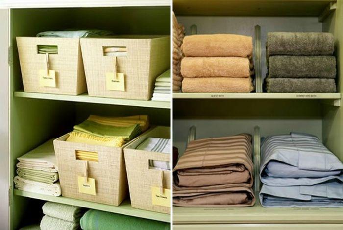 Хранение полотенец и постельного белья.