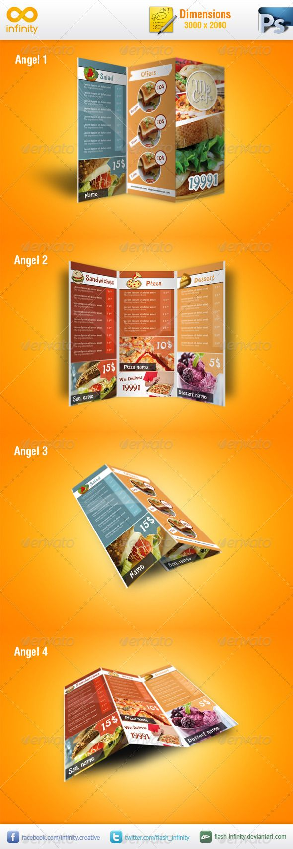 Modern TriFold Mockup v1  #GraphicRiver         Modern TriFold Mockup with 4 views  	 Dimensions: 3000×2000. Easily changing the images, help file included.  	 Thanks to UnicoDesign  as I used his TriFold brochure for the preview.  UnicoDesign's TriFold Brochure can be found here: graphicriver /item/modern-restaurant-menu/393560 	 Don't forget to rate this item.      Created: 14March12 GraphicsFilesIncluded: PhotoshopPSD Layered: Yes MinimumAdobeCSVersion: CS4 PixelDimensions: 3000x2000…