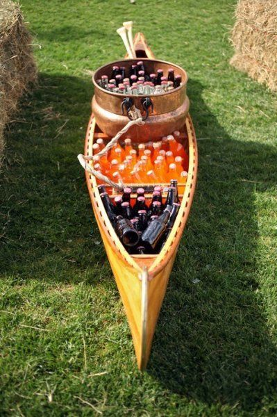 Canoe full of refreshments! {source: Culinary Crafts} #weddings