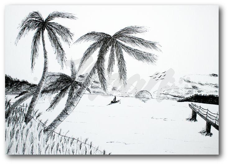 Ilustración sobre cartón Durex con tinta china.